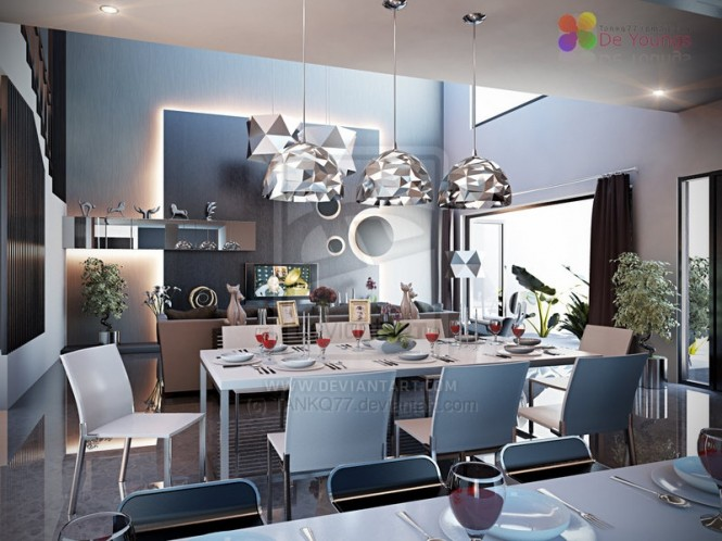 10 black white modern dining room 665 498 interior for Dining room decorating ideas 2012