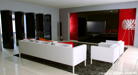Amazing ideas for decorating living room with red and grey for Red room design ideas