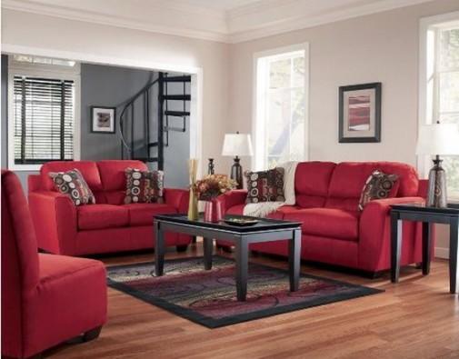 Ashley Thornton Red Living Room Set 1 505 395 Interior