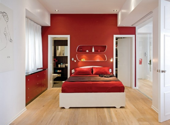 Bedroom Design At Home Decorating With Color Amazing Red And White Interior