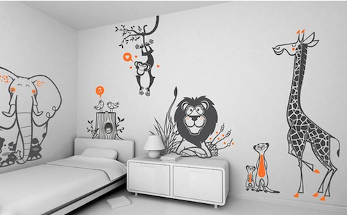 wall sticker decorating ideas for kids bedroom animal wall stickers - Childrens Bedroom Wall Ideas
