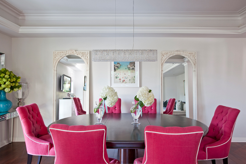 White pink red blue chic dining room oval table tufted for Dining room ideas in blue